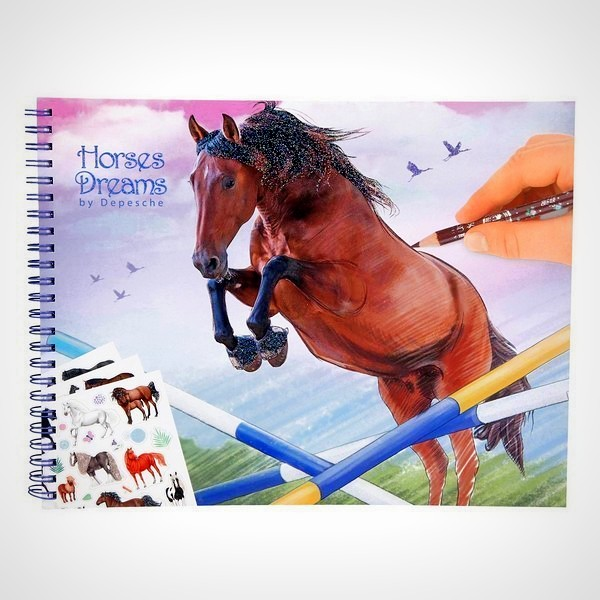 Horses Dreams tekenboekje kleurboek paard tekenen paardensticker