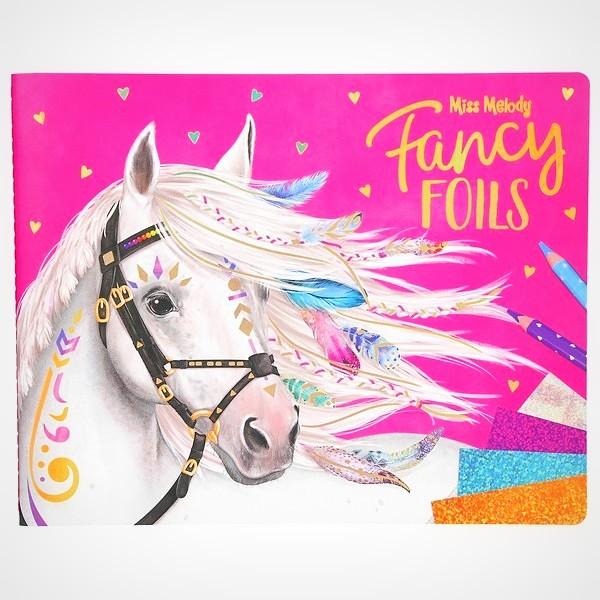 Miss Melody Fancy Foils knutselboekje kleuren glimmende vellen tekenen
