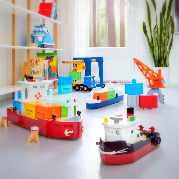 New Classic Toys Haven Containerboot Hijskraan