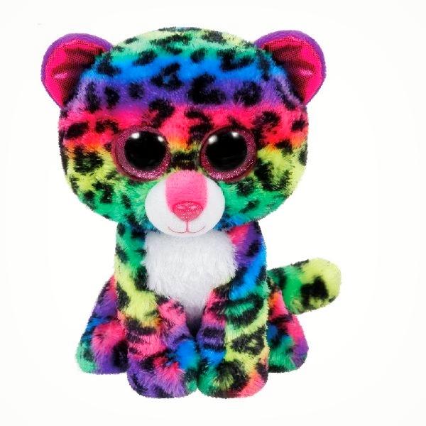 Ty regenboog gekleurde luipaard knuffel met glimmende ogen