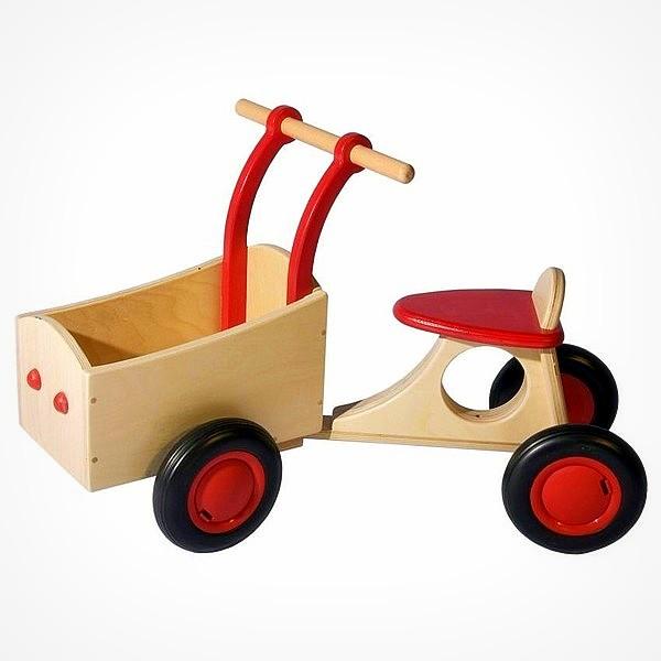 Van Dijk Toys houten bakfiets loopfiets rood houten speelgoed leren lopen