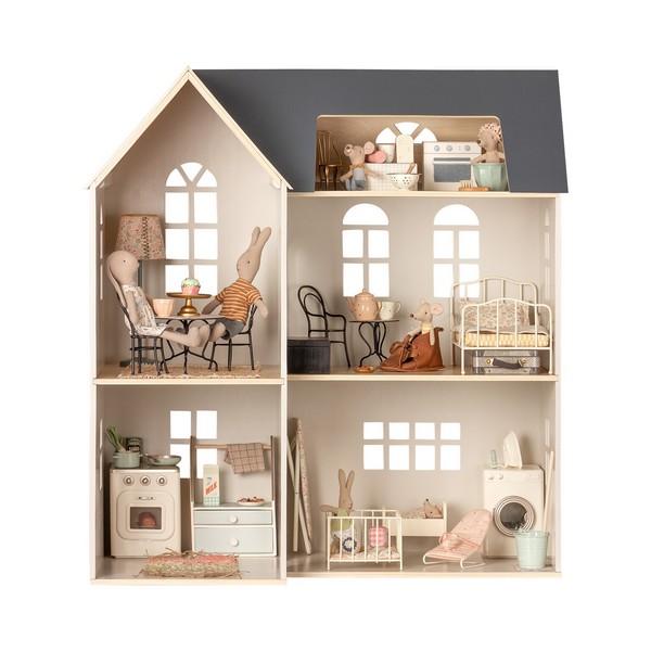 Maileg, poppenhuis, maileg poppenhuis, poppenhuis accesoires, konijnen, muizen, knuffels, poppen